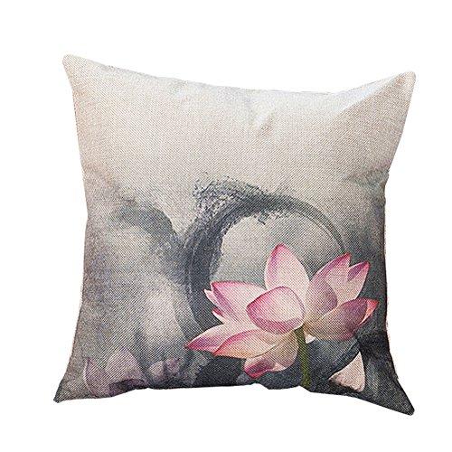 LAAT Funda de Almohada Elegante Estilo de Loto Almohada de sofá Almohada de Cama Material de Lino - Flor de Loto, 45cm*45cm, No Contiene Almohada