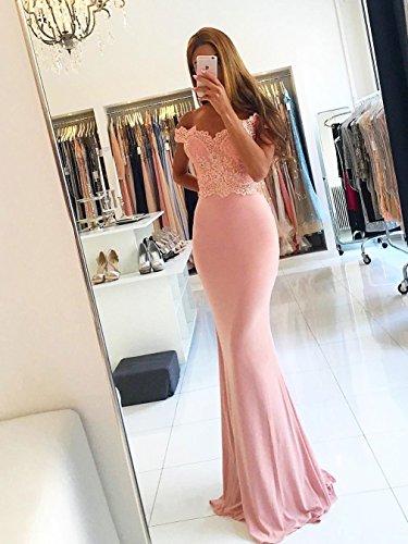 Meerjungfrau Brautjungfer Kleid Schatz Promkleid Satin Spitze Backless Party Kleid Stil12 Rosa