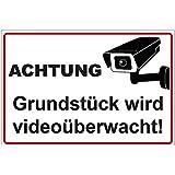 """Schild """"Achtung - Grundstück wird videoüberwacht"""" aus Alu / Dibond 300x200 mm 3 mm stark"""