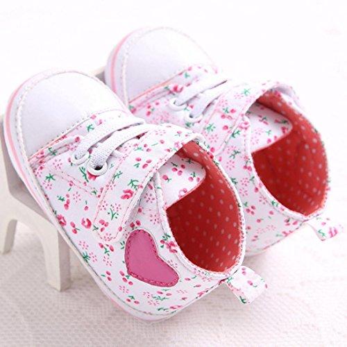 Baby Mädchen Lauflernschuhe-Omiky® Baby-Segeltuch-Schuh Herz-geformter Schuh-Turnschuh Anti-Rutsch weiches Sole-Kleinkind Pink