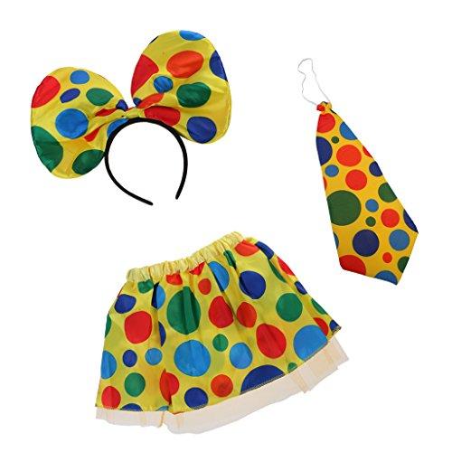 Girl's Kostüm Jester - sharprepublic Clown Jester Circus Headband Tie Skirt Kids Girls Christmas Fancy Dress Set