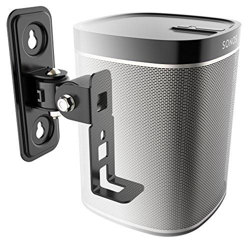 RICOO Lautsprecher Wandhalterung schwenkbar neigbar LH431B für SONOS® Play 1 / Wlan Airplay Lautsprecher-Wandhalter / Halterung-Lautsprecherboxen / Multiroom Speaker Full-Motion Mount / Schwarz (Aktive Soundbar Mit Receiver)