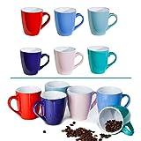 6 bunte Kaffee-Becher Mug aus Keramik im Set für a 150ml in 6 schönen Pastell Farben. Genießen Sie Ihren Tee, Kaffe oder Cappuccino aus diesen modischen Kaffee-Tassen.