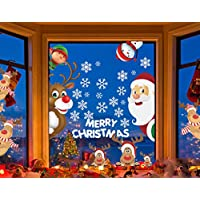 Sofenny Santa and Rudolph Window Clings Fabulous Christmas Decorations Cute Santa Claus Reindeer Static PVC Stickers for Christmas Home Reusable Window Decals
