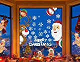 Sofenny Netter Weihnachtsmann Weihnachten selbstklebend Fensterdeko Weihnachtsdeko Sterne Weihnachts Rentier Aufkleber Schneeflocken Aufkleber Winter Dekoration Weihnachtsdeko Weihnachten Removable