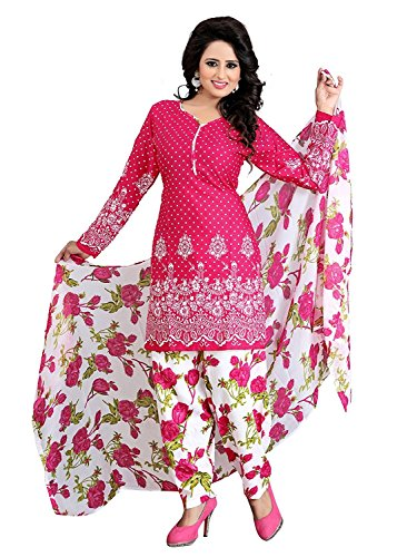 Jay Varudi Creation Women\'s Pink & White Cottan Unstiched Dress Materials ( Love Pink 03_Pink_Free Size )