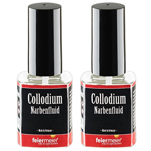 2x Narbenfluid für realistische Narben - feiermeier® Collodium / Collodion - 2x 11ml Pinselflasche - Halloween Horror Schminke (Fx Make Kits Special Up)