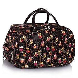 Ladies Travel Bags Holdall Womens Hand Luggage Owl Print Bag Weekend Wheeled Trolley Handbag from TrendStar