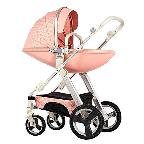 YXJ Kinderwagen, Kombikinderwagen, Kinderbuggy, Travel Buggy, Sportwagen, Sitzbuggy, Klappbar, Regenschutzfolie, Insektenschutznetz und Warmer Fußsack,Pink