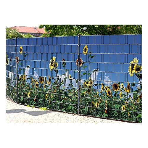 PerfectHD Zaunsichtschutz (über 10 weitere Motive) für Doppelstabmattenzaun *Sonnenblumen* Motivdruck, 9 Stück 19cm Streifen, Rückseite neutral grau