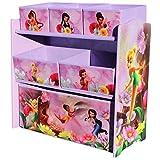 Delta Children's Products Disney Fairies Multi Toy Organizer für Spielzeug aus Holz mit Textilschubladen Aufbewahrungsbox mit Schubladen