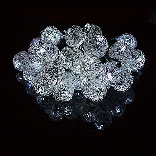 H&D Youngsun® 30er LED Solar Lichterkette Rattan Kugeln Metall 6,35 Meter Außen Innen Outdoor Garten Kühlweiß Party Fest Deko Weihnachten Hochzeit Beleuchtung