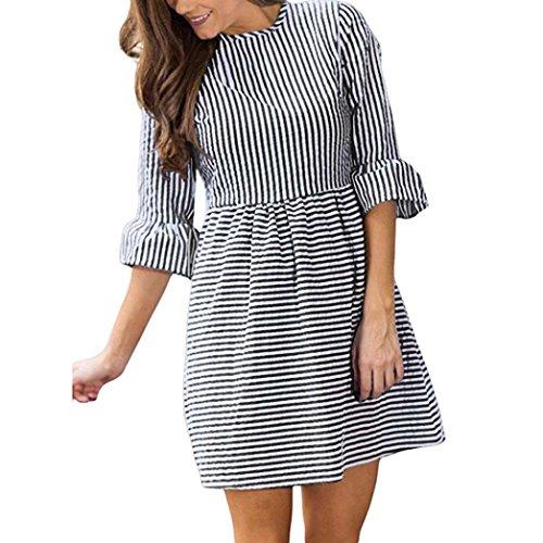 Kanpola Frauen Herbst Kleid Streifendruck Half Puff Sleeve Minikleid Partykleid (XS, Schwarz)
