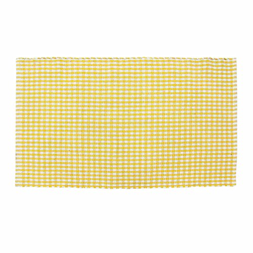 Homescapes 100% cotton gingham check rug hand woven yellow white 70 x 120 cm washable at home kids room or large bath mat by homescapes