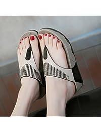 yalanshop Pantoufle femelle d'été 2017Mode Porter haute personnalité Strass coréen Tongs Sandales sauvages et chaussons Thick-soled Chaussures de plage, 37