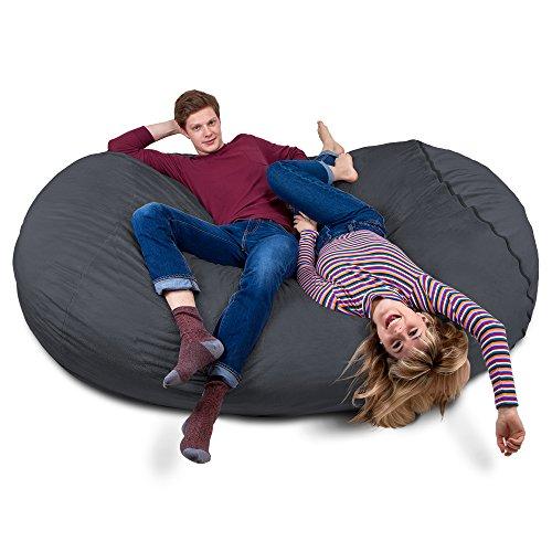 Riesiger Giga Sitzsack in Dunkel Grau mit Memory Schaumstoff Füllung und waschbarem Bezug - Gemütliches Sofa, Riesen Bett, Kuschelige Liege, Bean Bag für Kinder, Teenager und Erwachsene