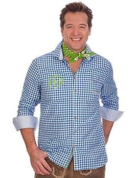 H1533 - Trachtenhemd mit langem Arm - blau, apfelgrün