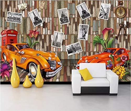 Keshj Carta Da Parati Personalizzata 3D Carta Da Parati D'Epoca Classica Cabina Telefonica Per Auto Carta Da Parati Stile Murale In Stile Americano-350cmx245cm