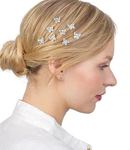 SIX Haarschmuck, 8er Set silberne Curlies, Haarspiralen mit Schmetterlingen (329-852)