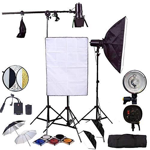 Hwamart ® 450W (150W x 3) Professionelle Fotografie Studio-Blitz-Beleuchtung Kit Kit Softbox Softbox, 4xGel (transluzent, Blau, Rot, Gelb), Bienenwabe, Sender, Empfänger, Stall-Tür mit Tragetasche Kit 150w Flash