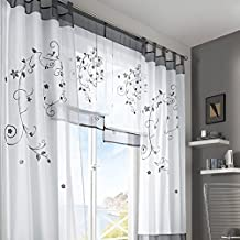 Cortinas Pantallas de Cortinas Bordadas Para Salón Dormitorio (140_x_245_cm, gris)