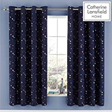 Catherine Lansfield Happy Space Easy Care Eyelet Curtains Navy 66x72 Inch