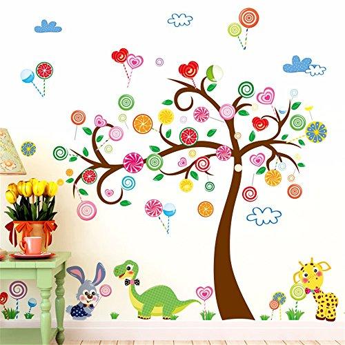ZRDMN Wandaufkleber Das Dekor Kindergarten Wand Cartoon Candy Bäume Thema Wand, 60 * 90 Cm Entfernen Kunst Wandbilder Für Schlafzimmer Wohnzimmer Büro Familie Kindergarten Badezimmer Küche (Candy Bäume)