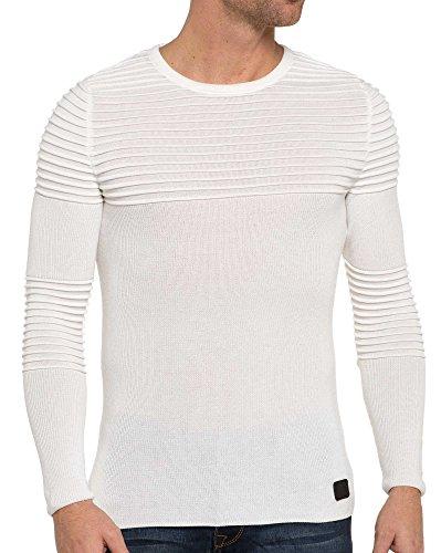 BLZ jeans - Pull blanc uni moulant pour homme Blanc