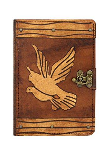 Preisvergleich Produktbild A Little Present Deko-Vogelkäfig, Vintage-Stil, echtes Leder, Hardcover, Flip-Case/Schutzhülle mit Standfunktion und Kreditkartenfächern, mit Schloss für Apple iPad Mini, 1/4 m