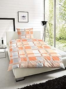 2 tlg Renforce Bettwäsche Garnitur Set Karo, Größen 135 x 200 cm und 155x 220 cm Kopfkissen 80 x 80 cm, 100% Baumwolle, Farbe Orange Grau, mit Reißverschluss, Größe 155 x 220 cm