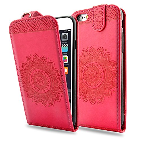 iPhone 6S Plus Hülle, iPhone 6 Plus Ledertasche - Fraelc® UltraSlim 360 Grad Klapphülle Flip Case mit Karte Halter & Standfunktion Leder Schale Henna Motiv Design Leder Etui für Apple iPhone 6 Plus/6S Rosarot
