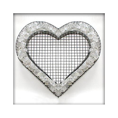 Bellissa Herz Gitter Pflanzschale Grabschmuck Grabgestaltung mit Glassplitt Farbe Kristall
