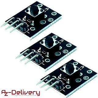 AZDelivery ⭐⭐⭐⭐⭐ 3 x KY-004 Taster Modul Sensor Taste Kopf Schalter Schlüsselschalter für Arduino mit gratis eBook!