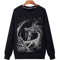 YA El otoño de Gran tamaño de los Hombres suéter de Cuello Redondo Cabeza 3D de Chicos jóvenes de Manga Larga Silver Dragon,5XL.
