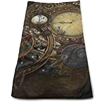 ewtretr Toallas De Mano,Steampunk Clocks Kitchen Towels - Dish Cloth - Machine Washable Cotton