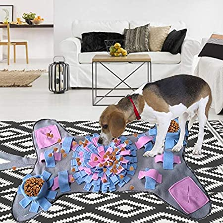 SNIIA Schnüffelteppich Hunde Schnüffelrasen Geruchsempfindung Trainieren Matte Sniffing Pad Bone Erscheinungsbild Detachable Decompression – 65x40cm