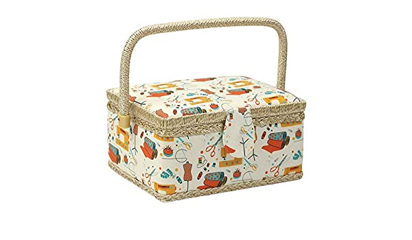 Orange Sewing Box Sewing Accessories Floral Print Gift With Handle Container Home Fabric Craft Rectangle Storage Vintage Removable Tray Basket Handmade