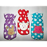 Chinmay Kids Fancy Bottle Cover (Multicolours, Red, Blue, Pink, Peach) (Pack Of 3)