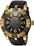 GV2 by Gevril La Luna Mens Swiss Automatic Black Leather Strap Watch, (Model: 8001)