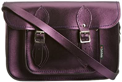 Zatchels Womens Satchel Cross-Body Bag Metallic Purple ZAT 146 11.5