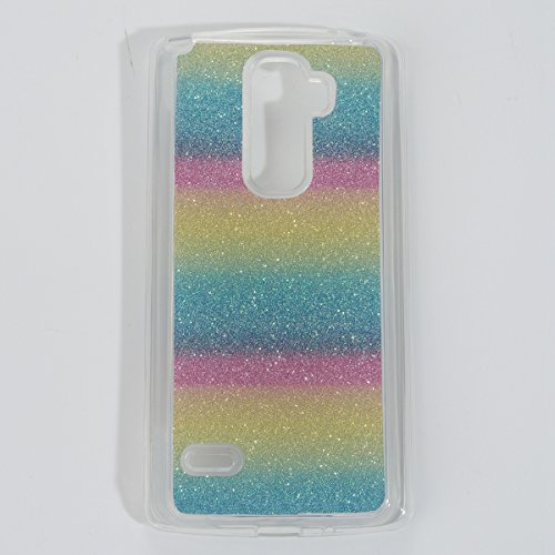 Coque LG G4 Stylus2 LS775 Shiny,LG G4 Stylus2 Coque Rigide,Ekakashop Creative Transparente Clair Pente D'or Brillant Cover Bling Strass Soft TPU Silicone Crystal Clair Souple Gel Housse de Arrière Pro Rainbow Bar