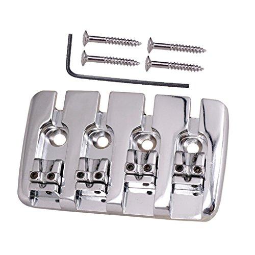 MagiDeal Gitarrensattel Brücken Saitenhalte mit Schrauben & Schraubenschlüssel Für 4 Saiten E-Bässe - Silber