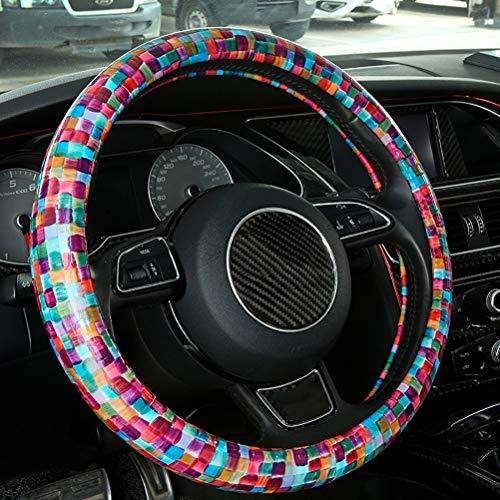 Coprivolante Per Auto,Accessori interni per Auto di Misura Universale 38 cm,Decorazione della Pittura a Colori(Rosso)