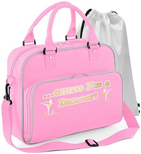 MusicaliTee Ballet Dancing - Cause Im A Dancer - Rosa PINK - Tanztasche & Schuh Tasche Dance Shoe Bags