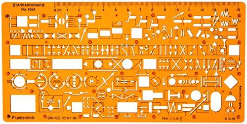 Hydraulik Pneumatik Fluidtechnik Flusssteuerung Schema Symbols Installation Schablone Zeichenschablone - Technisches Zeichnen (Symbol-schablone)