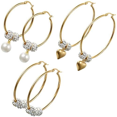 Aroncent 3 Paare(6PCS) Damen Ohrringe, Strass Edelstahl Kugel Charme große Creolen Ohrstecker mit Herz Anhänger oder mit Imitation Perlen Anhänger, Weiss Gold