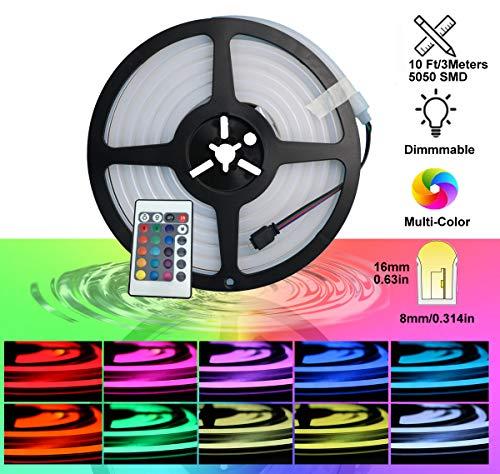 YXH Neon Led RGB Lichtschlauch, flexibel/wasserdicht/mehrfarbig/Fernbedienung für Haus/Garten/architektonische Dekoration (10 ft / 3 Meter, RGB)
