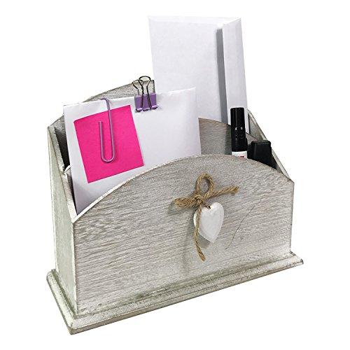 Mojawo Organizer Briefablage Dokumentenhalter Schreibtischorganizer Tischorganizer Postablage Holz Briefhalter B24xT9xH17cm