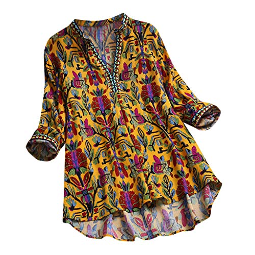 f6a70445225 Lazzboy Tops T Shirt Women Boho Ethnic Oversized Plus Size Holiday Hippie  Swing Tunic Blouse(