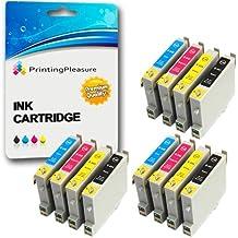 12 Cartuchos de tinta compatibles para Epson Stylus C64, C64 Photo Edition, C66, C66 Photo Edition, C68, C84, C84N, C84WN, C84 Photo Edition, C86, C86 Photo Edition, CX3600, CX3650, CX4600, CX6400, CX6600 / T0441, T0442, T0443, T0444 (T0445)